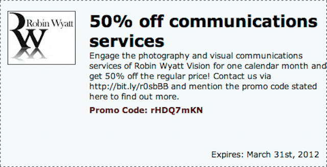 50 percent off communications services Special offers! Coupons for great value images & photography services
